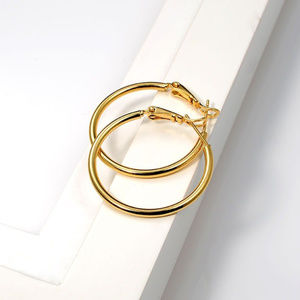 """Jewelry - 18K Yellow Gold Smooth Hoop Earrings 30mm 1.37"""""""